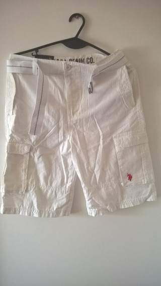 Short Polo Blanco Con Cinturón - Usa