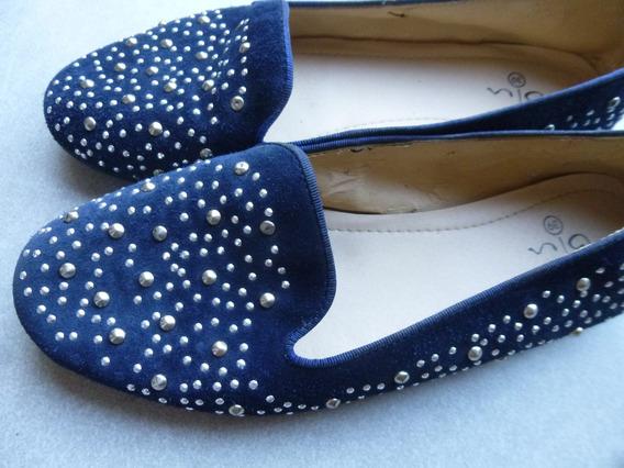 Zapatos Chatas De Gamuza Azul Con Tachas N° 39