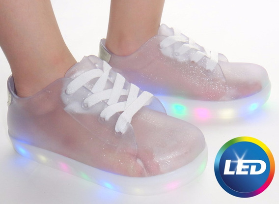 Tênis Infantil Luz Led 7 Várias Cores Impacto Fashion Gliter