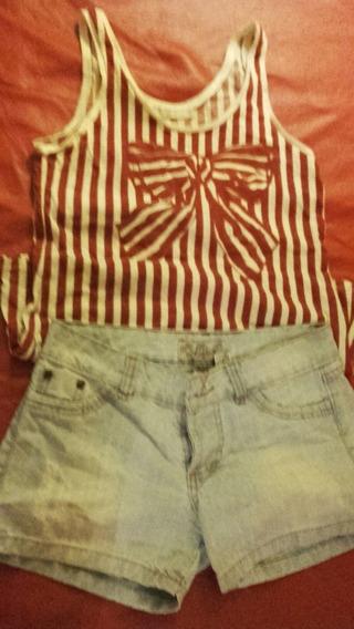 Pack De Dos Remeras Y Dos Shorts De Jean