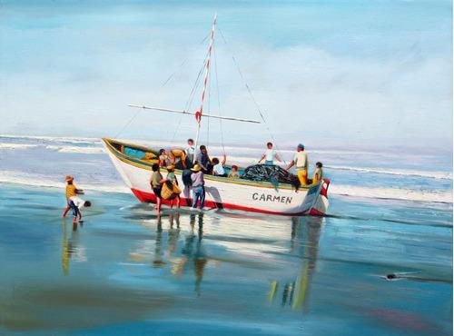 Imagen 1 de 2 de Embarcación Carmen - Pintura Al Óleo (sedamanos Art)