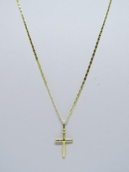 Corrente Cordão 60cm Piastrine + Cruz Em Ouro 18k 750
