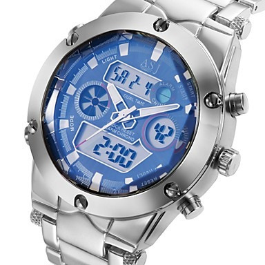 Relógio Quartzo Esporte Lcd Digital Aço Cronógrafo Multi