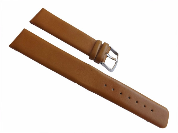Pulseira Extra Longa Couro 20mm Bege Lisa P/ Relógio