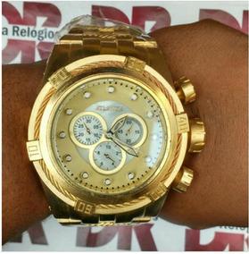 Relógio Masculino Original Em Aço Dourado Promoção