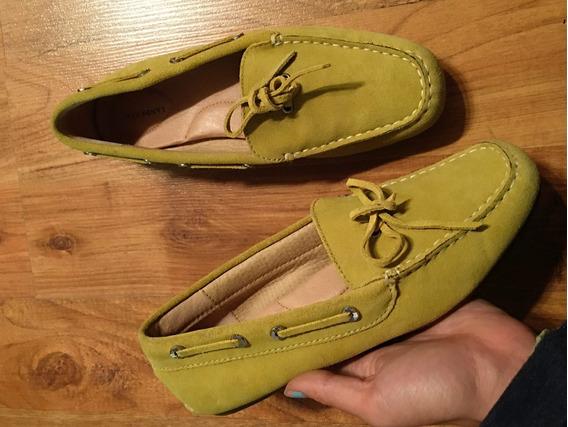 Zapatos Flats Mocasines Lands End Piel Fina Suede Originales