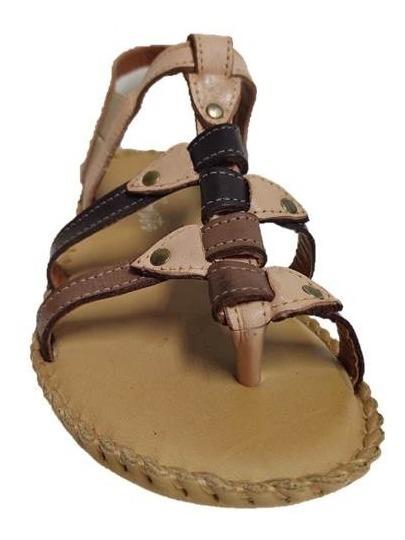 Sandália em couro salto baixo - Nude / Taupe / Araçá