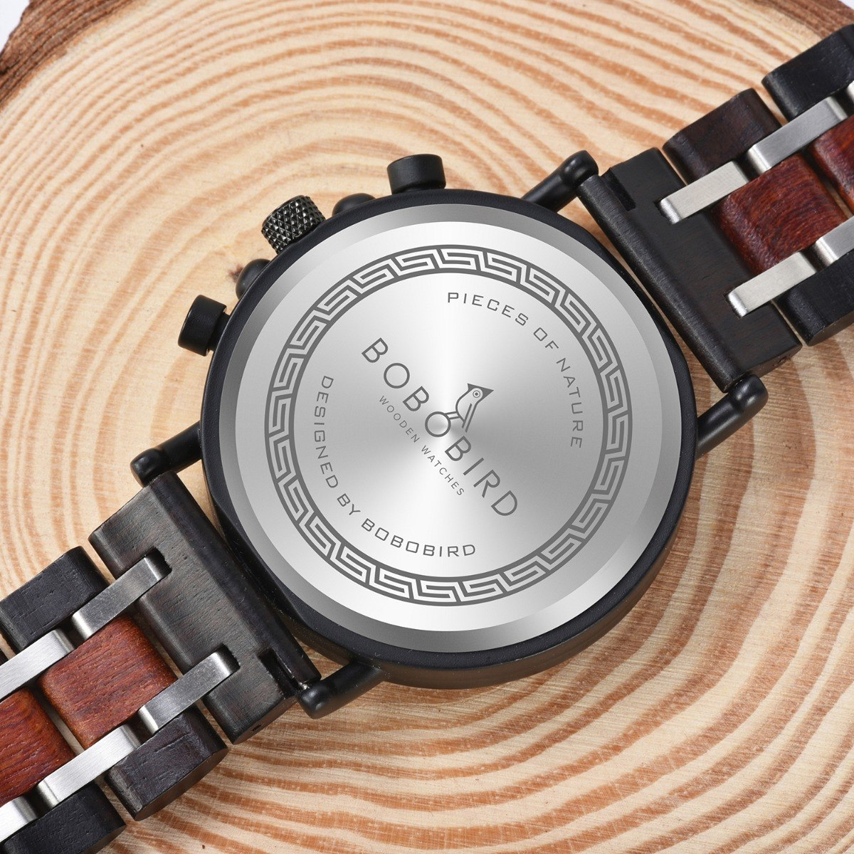 Relógio Bobo Bird de Madeira, Aço Inox Mabea, Analógico
