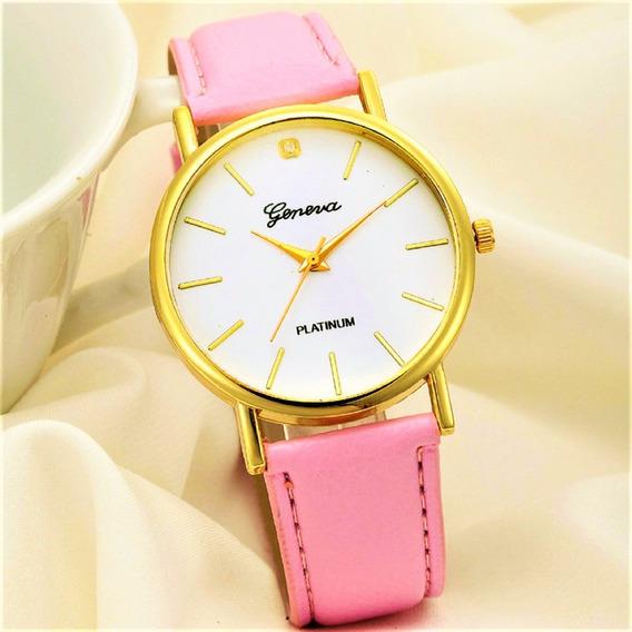 Relógio Feminino Rosa Dourado Barato Menor Preço