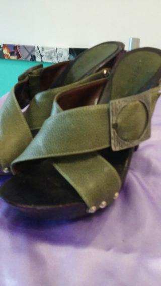 Zapatos Lucerna Cuero Verde Con Hebilla