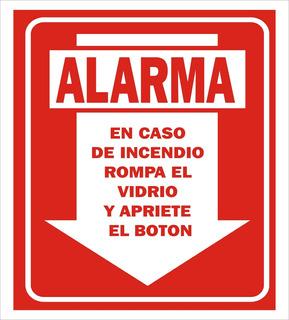 Cartel Para Matafuegos Alarma En Caso De Incendio 22x28 Pai
