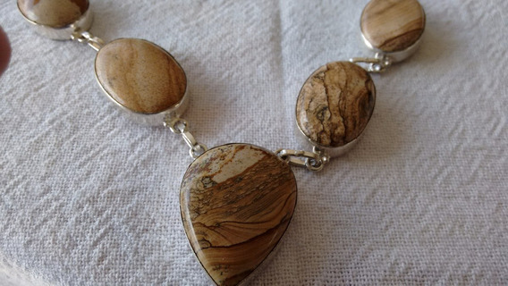Colar Gargantilha Feminino Prata Pedra Natural, Frete Grátis
