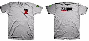 Camiseta Militar- Sniper Cuidado Afaste-se Combate Exército