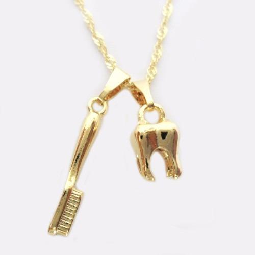 Colar Corrente E Pingente Odontologia Dentista Folheado Ouro