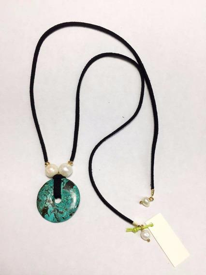 Collar Perlas Cultivadas Y Piedra Turquesa