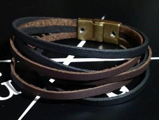 Pulseira Bracelete Masculina Feminina Couro Marrom E Preto