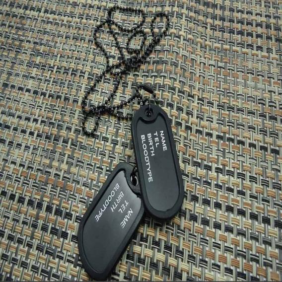 Cordão Colar + 2 Plaquinhas De Identificação Estilo Militar