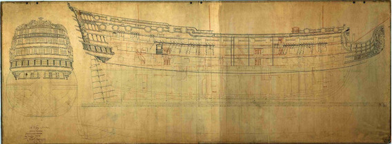 Lienzo Tela Dibujo Barco Hms Victory 1754 Arquitectura Naval