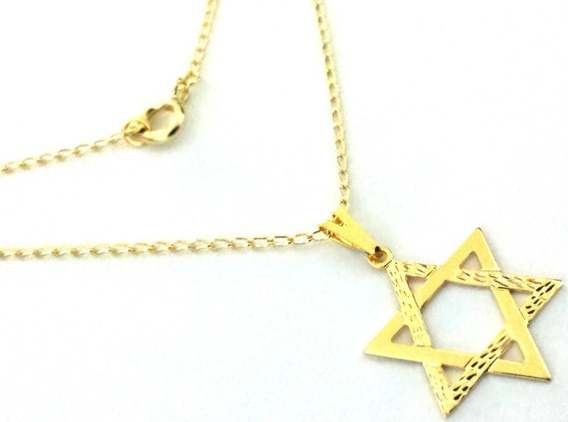 Colar Feminino Pingente Estrela De Davi Folheado A Ouro