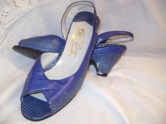 Sandalias Mujer Cuero Azul Francia Cabretilla Y Reptil