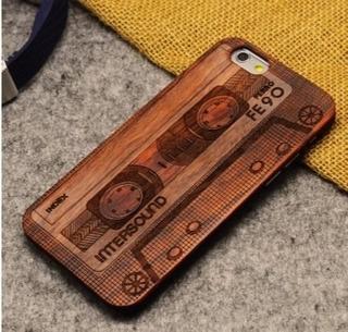Capa Case Para iPhone 6 E 7 Tela 4,7 Fita K7 Em Bambú