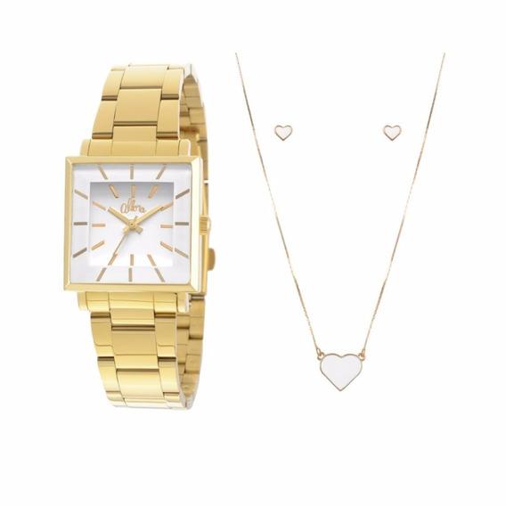 Kit Relógio Allora Feminino Dourado Al2035exm/4b Com Brinde