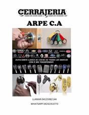 Cerrajeria Arpe C.a Servicio Rapido A Domicilio