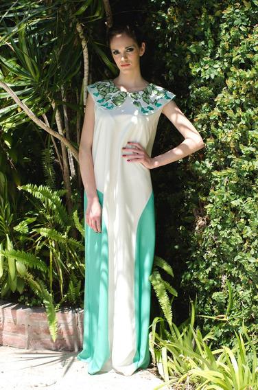 Vestido Largo De Saten Beige - Diseño De Autor