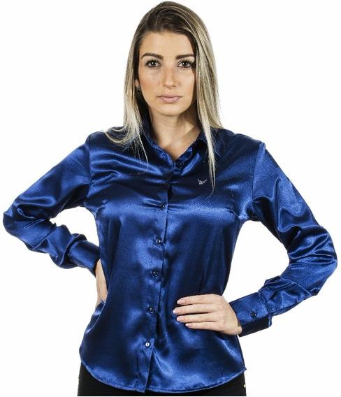 Camisa Social Azul Feminina Cetim C/ Elastano Pimenta Rosada