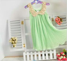 Vestido Infantil Festa Plissado / Sininho