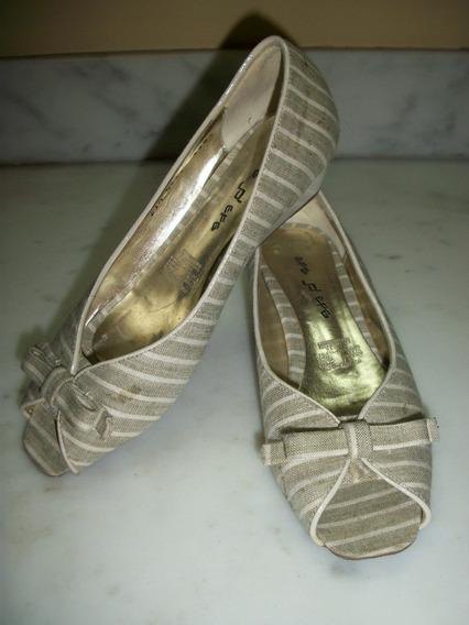 Zapatos Rayados Efe De Piso # 3.5 Dama Boca De Pescado