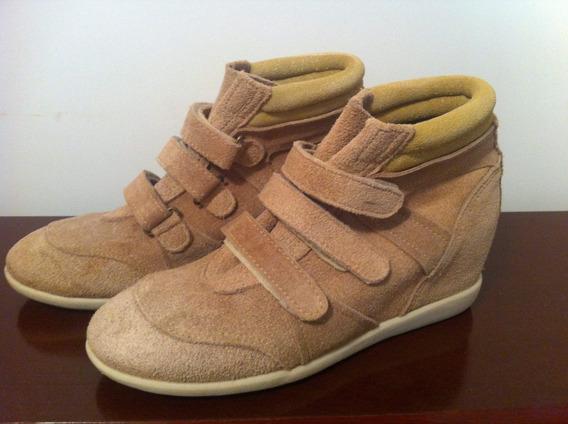 Sneaker Bege E Dourado Tamanho 37- Frete Grátis