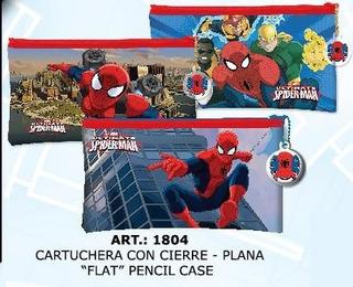 Cartuchera Plana Con Cierre Spiderman Canopla Chata H Araña