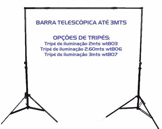 Kit Tripé Iluminação Wt806 Barra Telescópica 2,6mts
