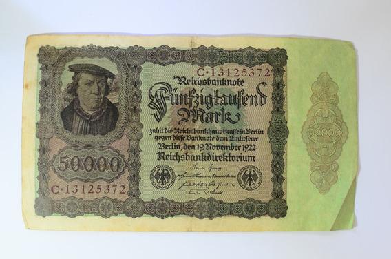 Nota Antiga Alemanha Época Da Inflação 1922 50 Mil Marcos