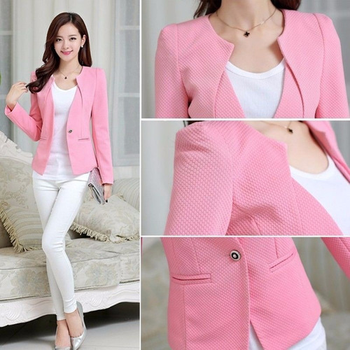 Blazer Pink Jacket Fashion Mujer Casual Slim Coat Outwear //