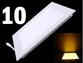 10 Plafon Led Painel Slim 6w Luz Quente Quadrado Embuti Spot