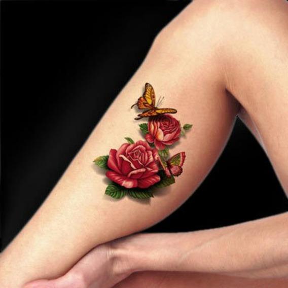 10 Cartelas 3d Tatuagem Temporaria 3d Real Rosas Borboletas