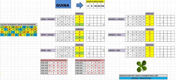 Planilha Quina - 40 Dezenas