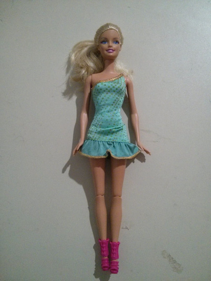 Boneca Barbie Vestido Azul Em Perfeito Estado Raro