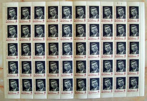 Argentina - Plancha X 50 Gj 1276 Kennedy Retint Mint L2026