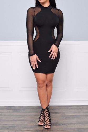 Vestido Negro Fashion Mujer Sexy Bandage Bodycon Long //