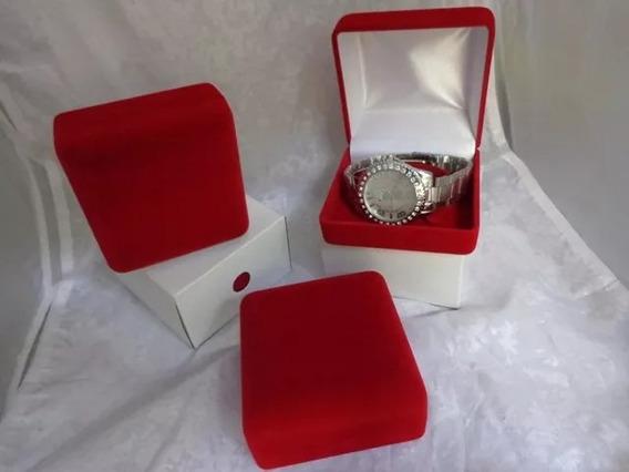 20 Caixas Veludo Vermelha Luxo Para Guardar Relógios Top
