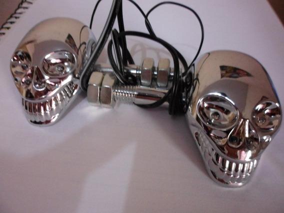 Par Setas Caveira Skull Cromado Led Custom Chopper Triciclo