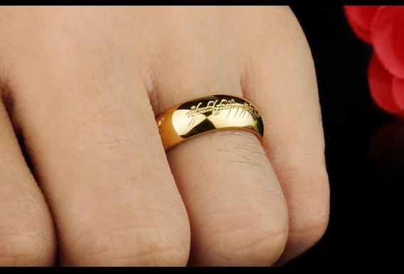 Anel Senhor Dos Aneis 18 K Banhado A Ouro De Tungstênio Anel