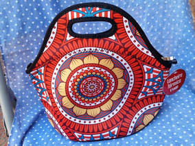Lancheira Bolsa Térmica Neoprene - Mandala Vermelha / Preta