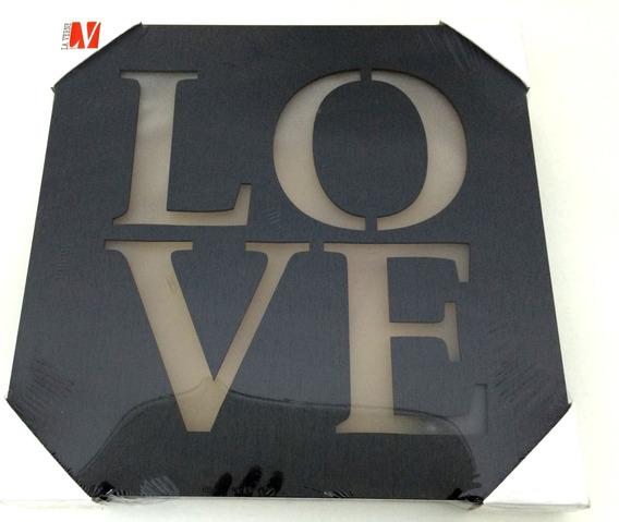 Quadro Madeira Com Led Love Pilha Decorativo