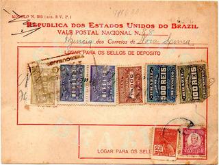 Brasil 1929 Vale Postal De 71$600 Com 1000 Réis Ruy Barbosa