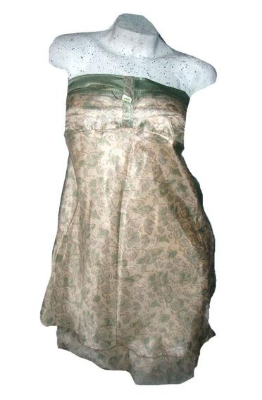 Vestido Straples Mini Doble Falda Hindu Seda Fria Talle M