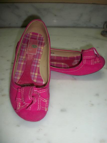 Zapatos Flats Castalia Color Fiusha Dama 4 Mex. Seminuevos